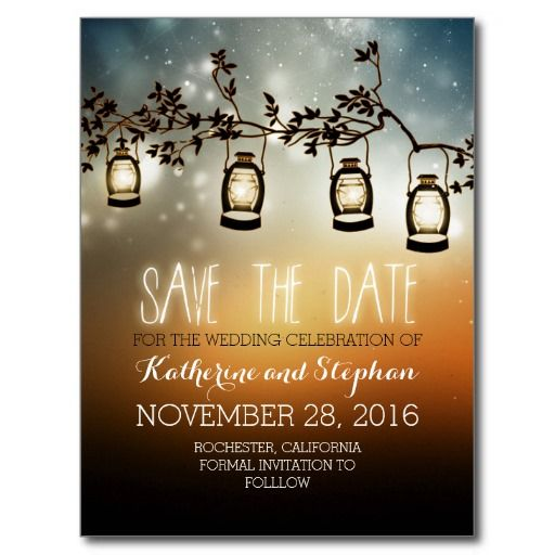 romantic and rustic save the date postcards with garden lights - oil lanterns hanging on the tree branch. Perfect save the date for rustic country wedding theme. Unique night lights wedding suite and trendy whimsical stationary.