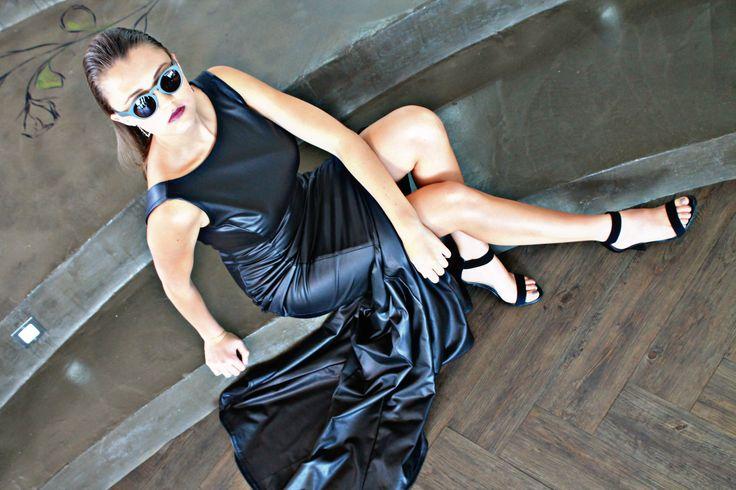 Elegant leather dress by Amourie Becker. #original #fashion #formal #leather #dress #openback #sleek #powerfull #fashiondesign #amourie #becker
