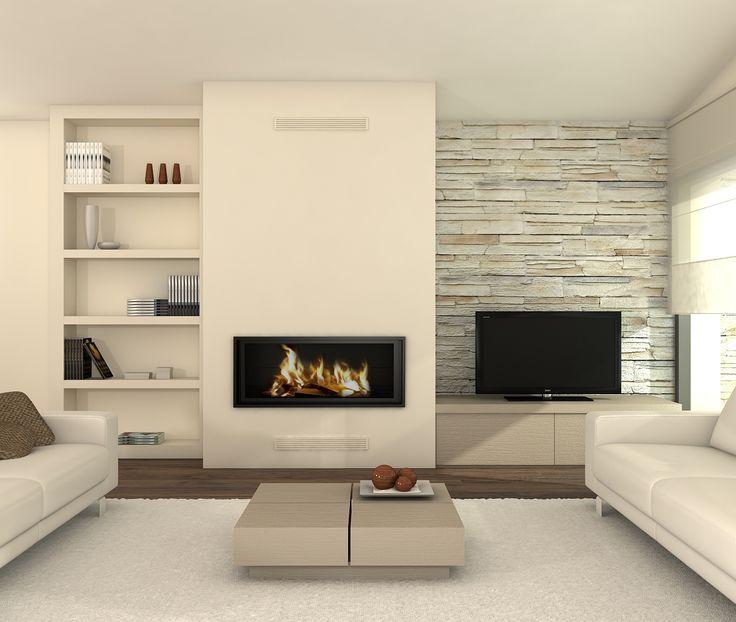 Salones con chimenea y television modernos buscar con - Salones modernos con chimenea ...