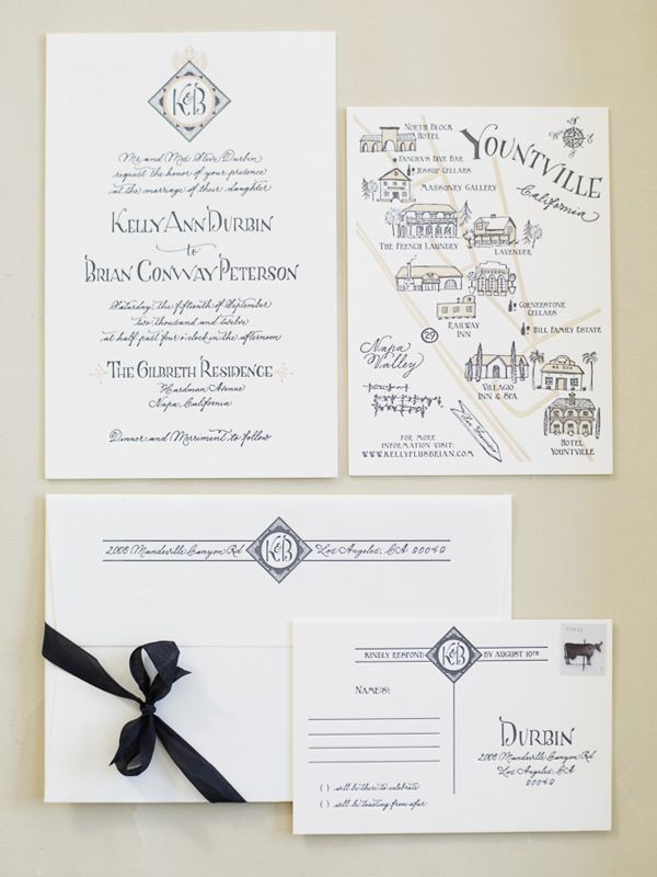 wedding invitations map%0A Elegant Napa Valley Wedding Invitation Suite  Photo by Cooper Carras   invitations by Antiquaria