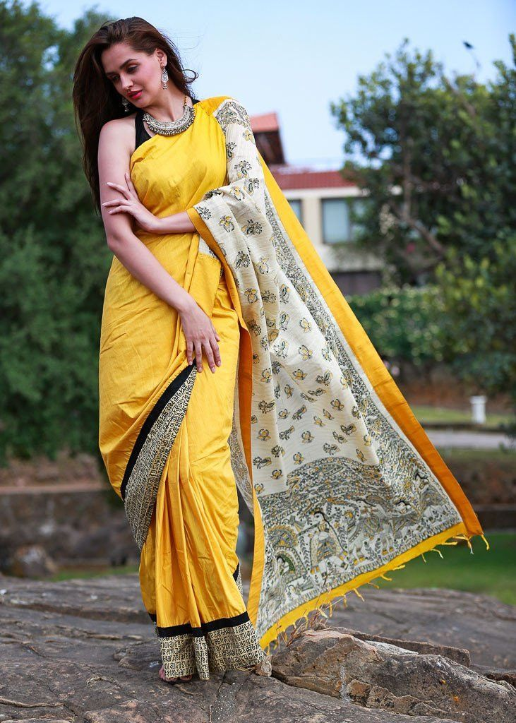 Saree - Yellow Half Silk With Jute Printed Madhubani Pallu