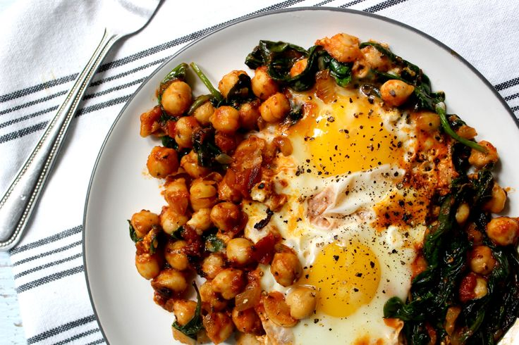 Spinach Chickpea Egg Nest