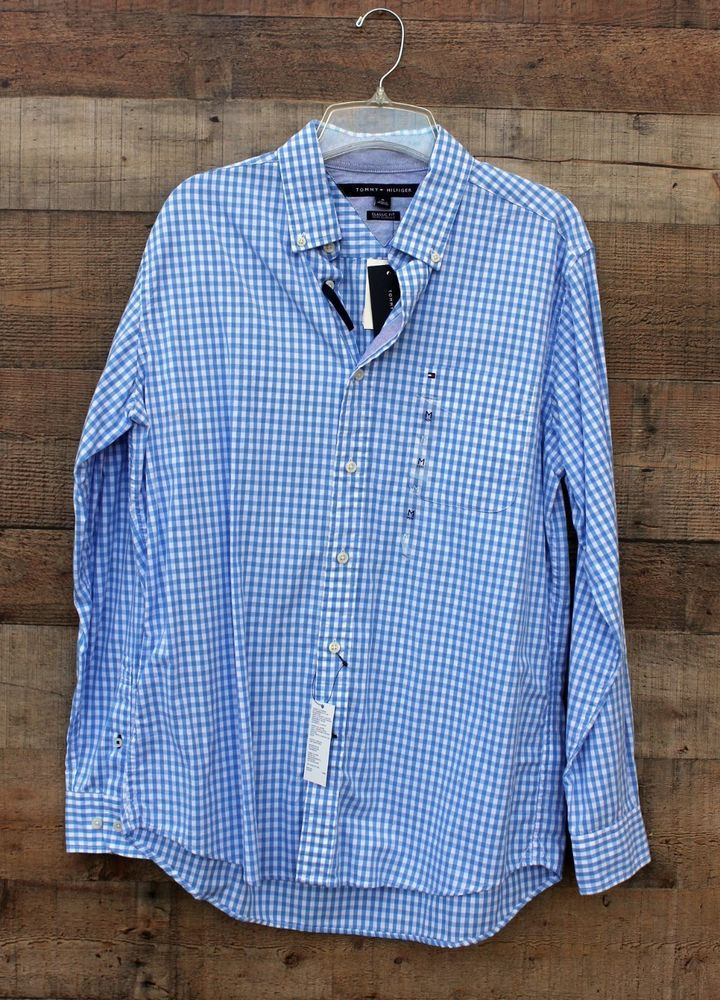 594bf163 Tommy Hilfiger Medium Light Blue Check Dress Shirt NEW Button Down NEW # TommyHilfiger