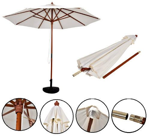10FT Patio Umbrela Adjustable Wood Pole Garden Parasol Beige Canopy Sun Shade   #Unbranded #GardenUmbrellaBeachTerrace
