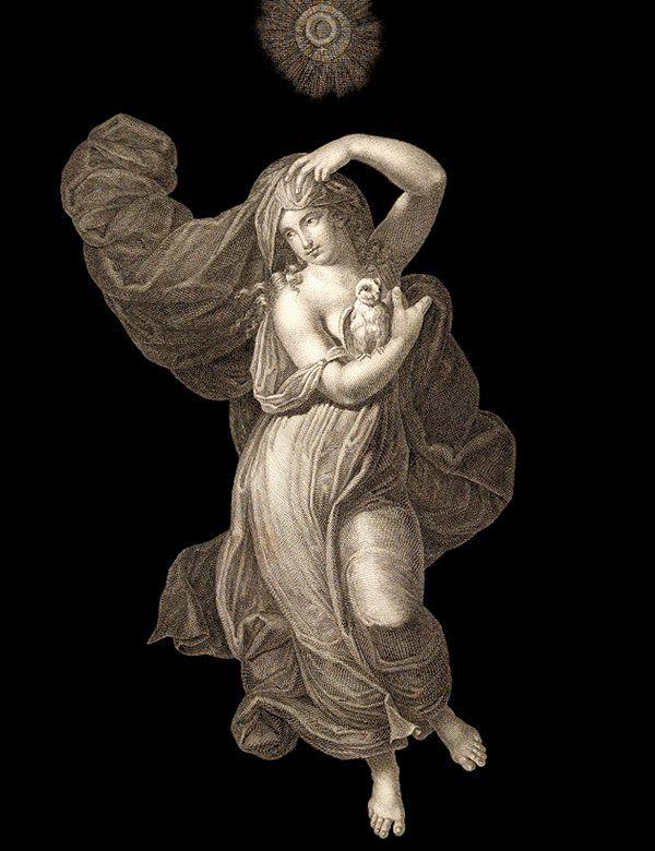 Ж. Рибо. Четвёртый час ночи(«Ora Quarta di Notte»). «Часы Рафаэля» представляют собой серию из двенадцати гравюр, олицетворяющих, согласно подписям к ним, шесть дневных и шесть ночных часов. Первоисточник - Потолочная роспись Зала Понтифексов. Покои Борджиа, Ватикан. 1520-1521