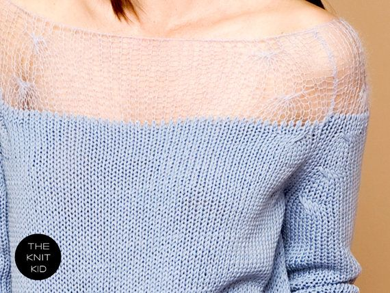 knitted sweater bleu mohair merino transparent by THEKNITKID