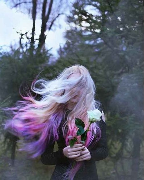 pink purple white ombre hair