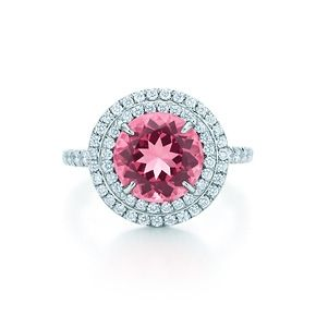 Tiffany Soleste ring in platinum with diamonds and a pink tourmaline.