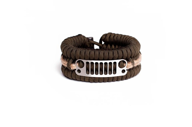 "Special Edition Jeep Bracelets pack everything our other bracelets do just in place of the P38 can opener is this Jeep Grill! Inside of these Bracelets are: 25ft of 550 paracord (on a 7 1/2"" wrist), 20ft of 10lb braided fishing line, 2 fishing hooks, 2 fishing weights, 2 water sanitizing tablets (purifying up to 2qts of water), 2"" of electrical tape, 6"" of surgical tubing (this is a partial latex product), 12"" of jute (used for tinder), 1"" piece of Ferrocerium rod (Flint)"
