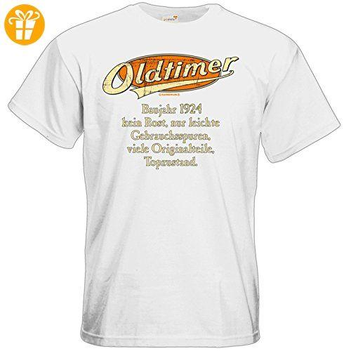 getshirts - RAHMENLOS® Geschenke - T-Shirt - Geburtstag Oldtimer Baujahr Jahrgang 1924 orange - white M (*Partner-Link)