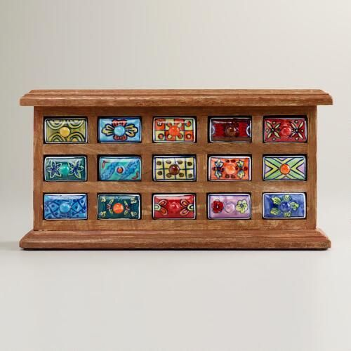 How cute is this? One of my favorite discoveries at WorldMarket.com: Rectangular Ceramic Drawer Wood Chest