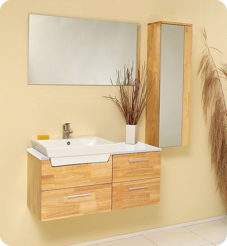 Fresca Caro Natural Wood Modern Bathroom Vanity w/ Mirrored Side Cabinet