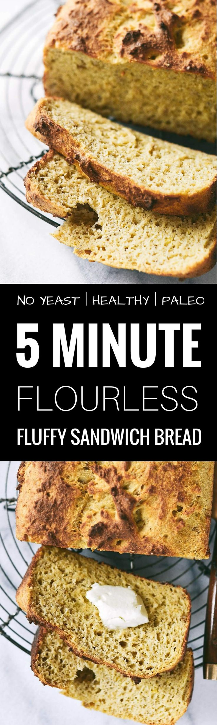 There IS life after wheat! 5 Minute Perfect paleo sandwich bread. Toastable. Sandwichable. Low carb. Grain free. Yeast free. Light. Fluffy. Awesome crust. Paleo bread recipe. Fluffy sandwich bread recipe. Best gluten free sandwich bread. Best paleo bread.
