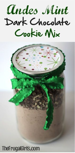 Andes Mint Dark Chocolate Cookie Mix in a Jar! ~ from TheFrugalGirls.com ~ this easy Mason Jar Gift comes together in just a minute, and makes such DELICIOUS cookies! #masonjars