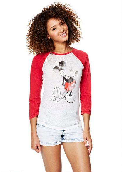 Mickey Pose Raglan Graphic Tees Clothes Delia S