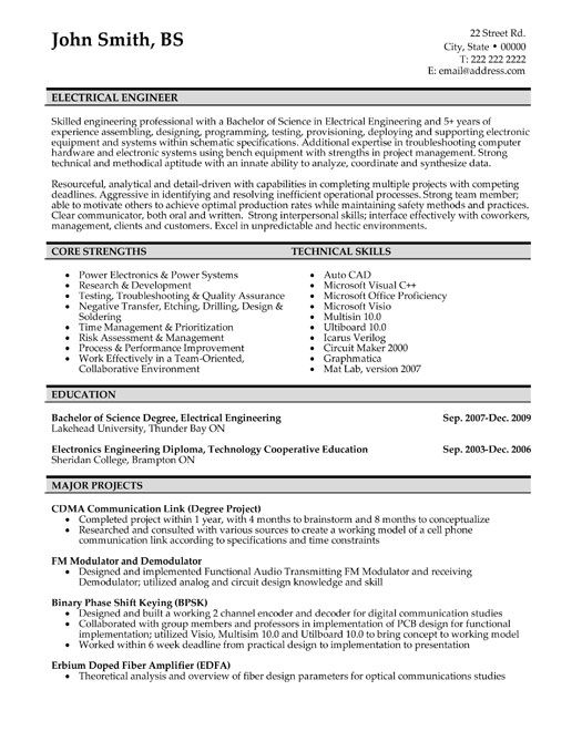 electrical engineer resume template we provide as reference to make correct and good quality resume