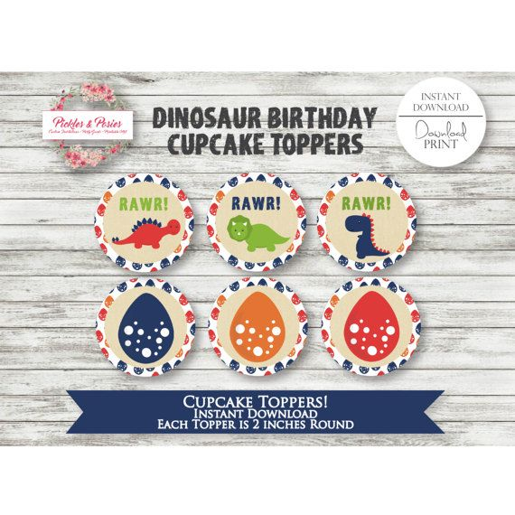 Dinosaur Birthday Cupcake Toppers -  Dinosaur Party Cupcake Toppers - Dinosaur Party Favors - Prehistoric Party Supplies - INSTANT DOWNLOAD