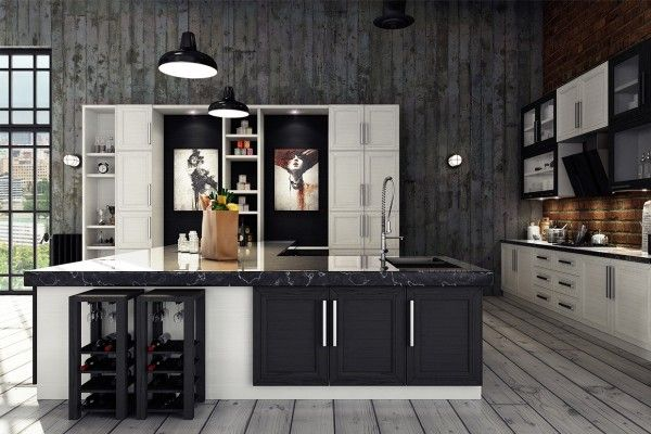 Industrial kitchen, black-cabinets