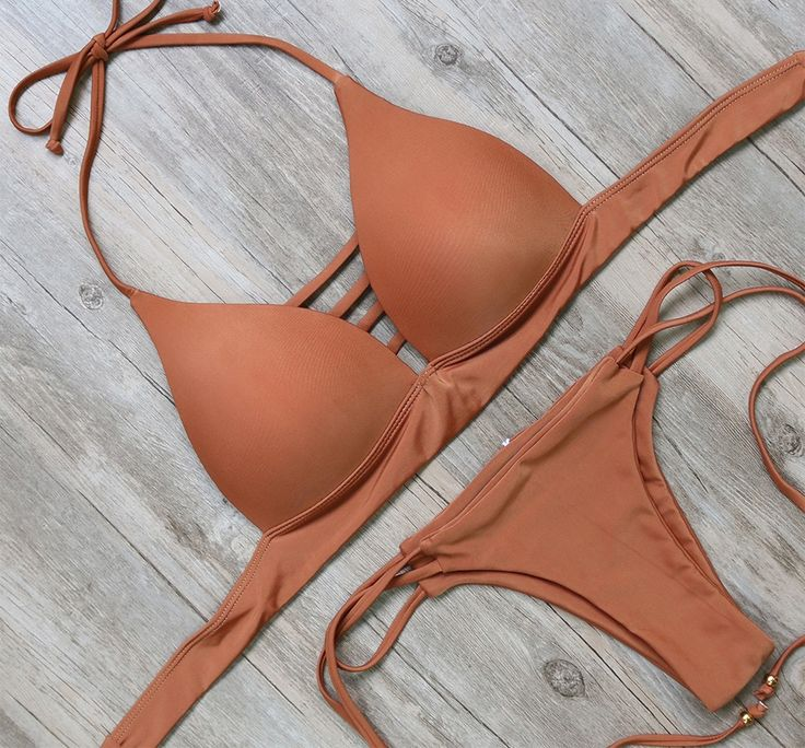 Orange Molded Cup Push-up Bikini Set free shipping at cheap price.
