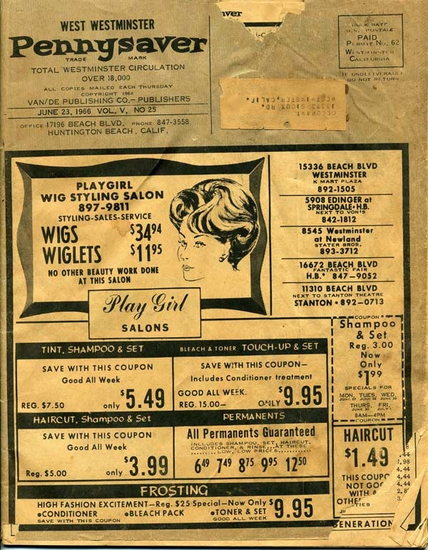 A wig ad from the 1966 Pennysaver.