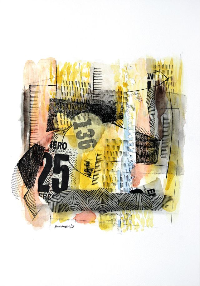 """136 25"". Collage sobre papel. 30 x 20 cm. 2012."