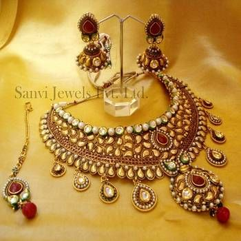 Bridal necklace, earrings, maang tikka, kundan jewellery, Indian bridal jewellery