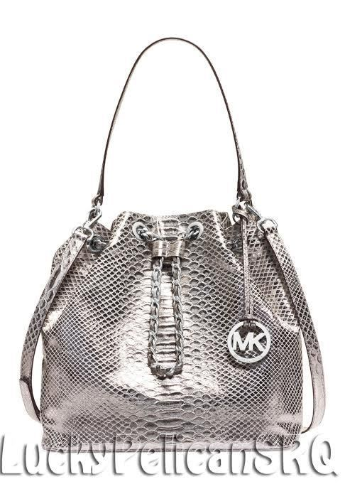 728ecc2517ffa8 Michael Kors Frankie Metallic Silver Embossed Large Shoulder Bag Handbag  NWT | Handbags, Bags .