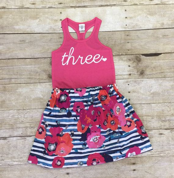Girls Birthday outfit 3rd birthday shirtANY by WillowBeeApparel