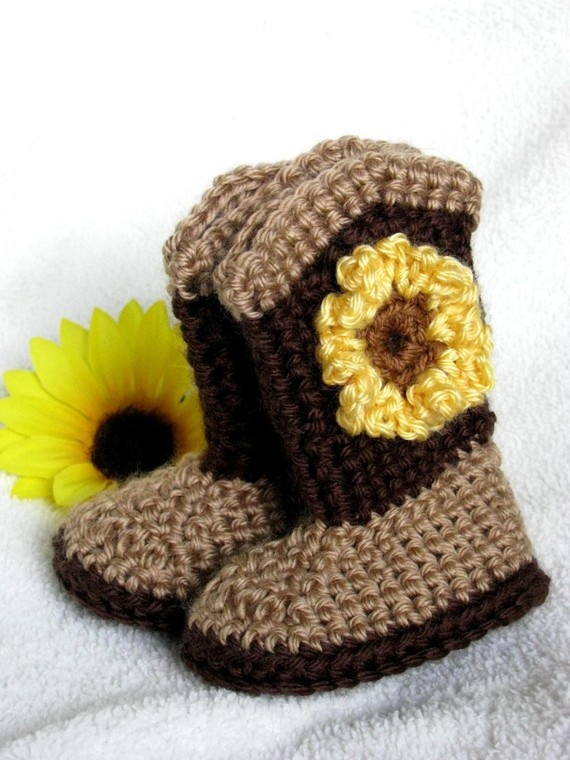Cowboy Baby Booties  Sunflower Brown Yellow by BabyOasis on Etsy