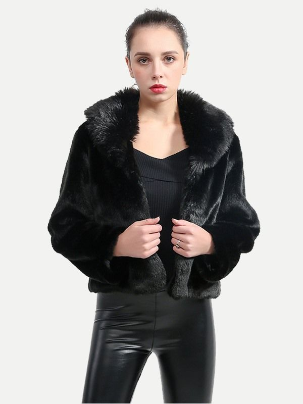 fadd773ef Vinfemass Fur Collar Black Short Thick Faux Rabbit Fur Coat in 2019 ...