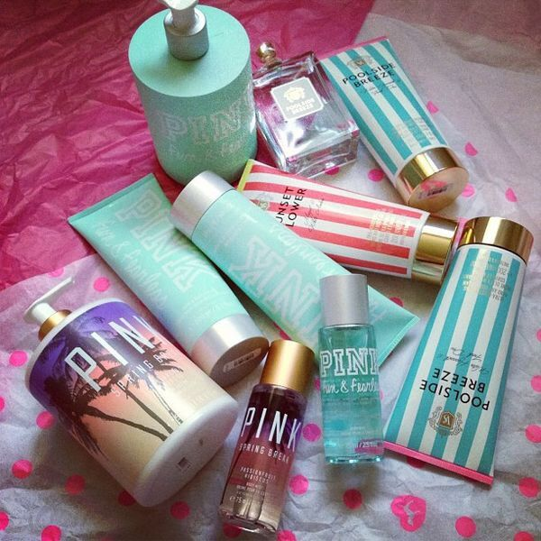 Beauty Products from Victoria's Secret. They all smell awesome. Did you know that Victoria's Secret and Bath and body works are sister companies? #victoriasecret