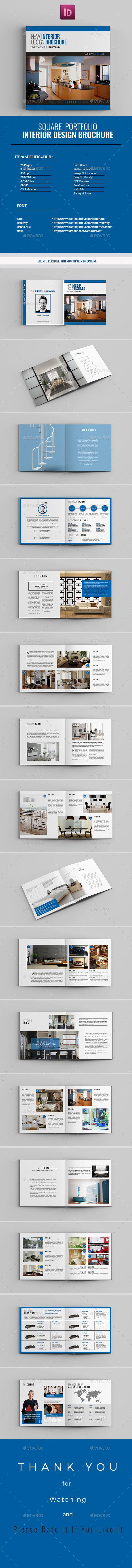 Square Portfolio Interior Design Brochure Template InDesign INDD
