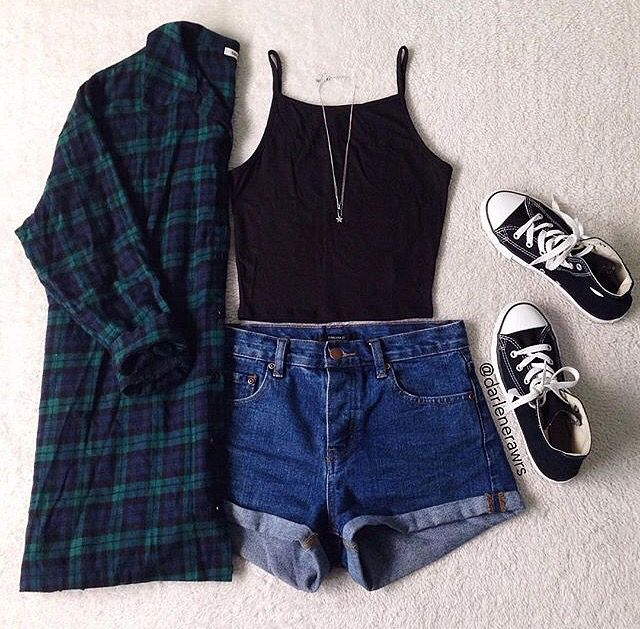 Teen fashion. Summer outfit. High waisted jean shorts. Converse. Cropped black tank top. And flannel. Teen Tumblr outfits. Layout my outfit