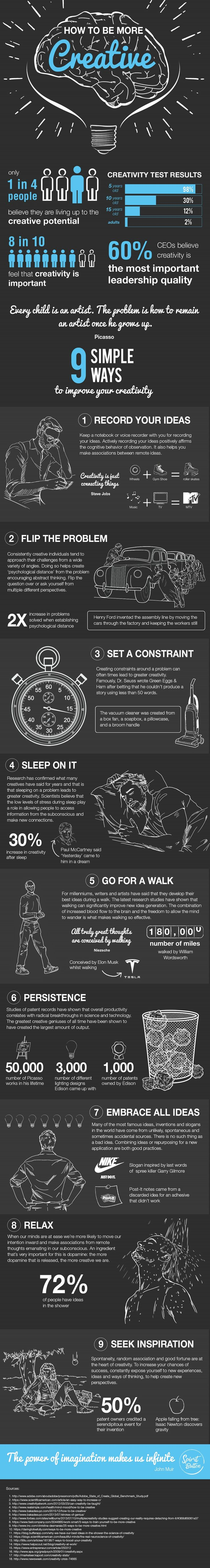 9 Simple Ways To Improve Your Creativity Infographic - http://elearninginfographics.com/9-simple-ways-improve-creativity-infographic/