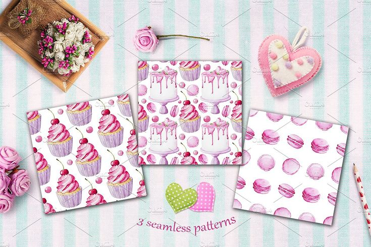 Pink sweets - watercolor collection by Ginger girl on @creativemarket