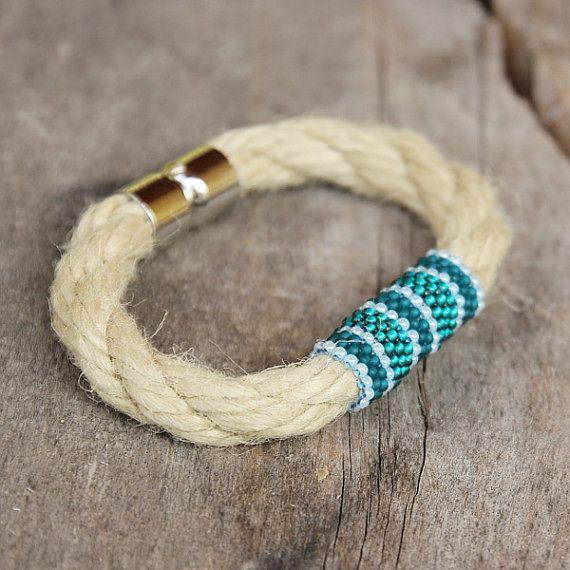 Beach rope bracelet Beadwork Teal Blue Wrap by Naryajewelry, $18.00