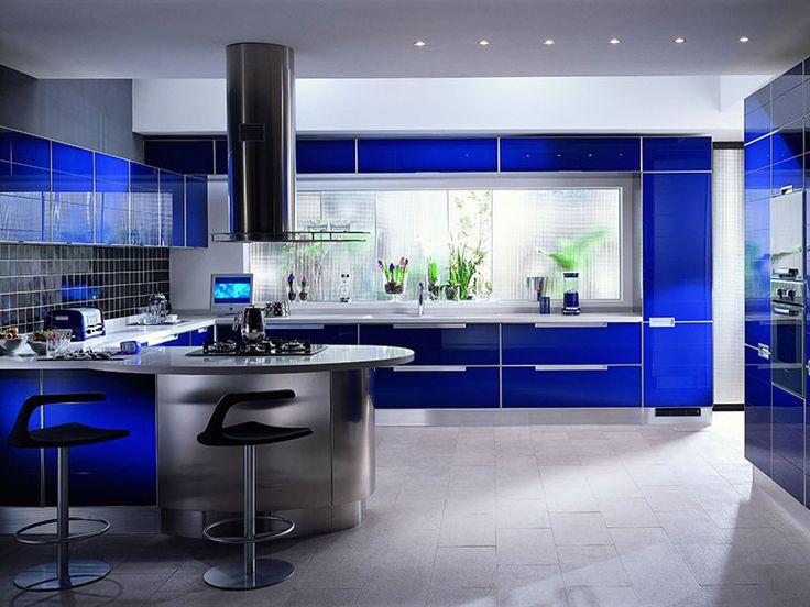Fantastic Modern Blue Kitchen Design Ideas With Blue Modern Kitchen Design with Bar Counter and Stool
