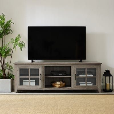 Rustic Farmhouse 70 Gray Wash Wood Tv Stand With Glass Doors Tv