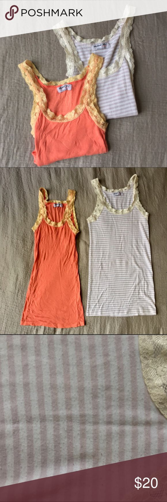 Michael Stars Bundle - Lace Strap Long Tank Top Two is better than one! This listing is for TWO (2) Michael Stars lace strap tank tops. Supremely soft like butter. Both are in great condition. Note that the white/cream striped tank has slight piling and a small stain in the bottom front. One size fits most. Michael Stars Tops Tank Tops