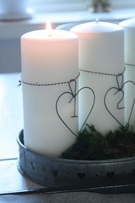 candles w wire numbers - try with letters of the bride and groom