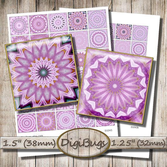 "Pink Mandala Images, Digital Collage Sheet, 1.25"" , 1.5"" Mandala Squares, Pink & Rose Kaleidoscopes, Printable Mandala, Digital Download, c6"