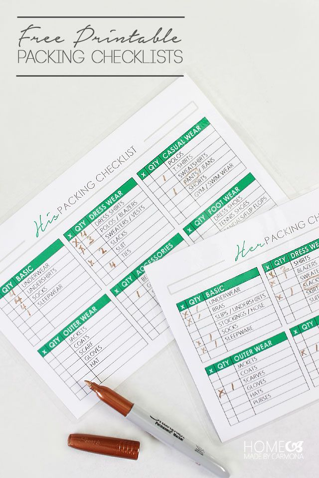 Free printable packing checklists: even HIS and HERS lists!!