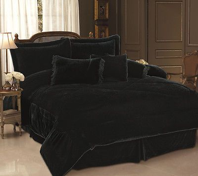 Details about Black Solid Velvet 3-Pc Comforter Set - Full/Queen - High Quality Bed Set - USA