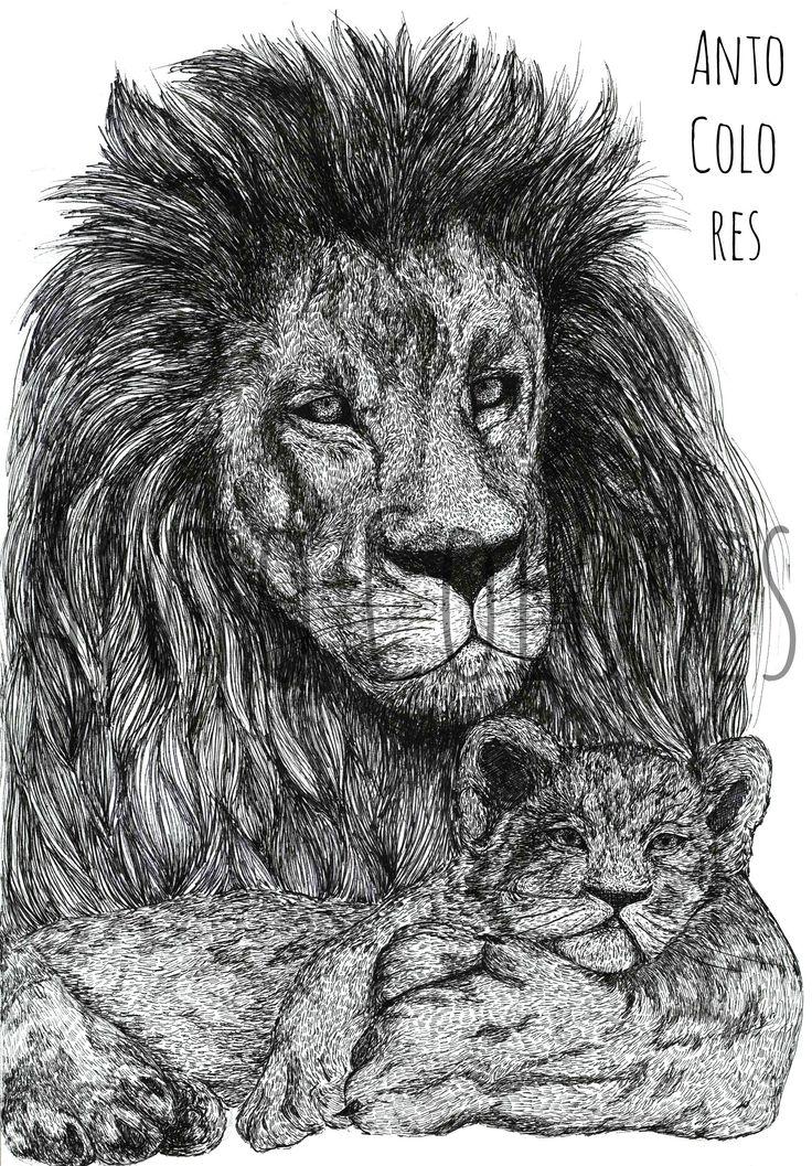 #lion #leon #illustration #ilustracion https://www.facebook.com/AntoColores/?ref=aymt_homepage_panel  www.instagram.com/anto.colores