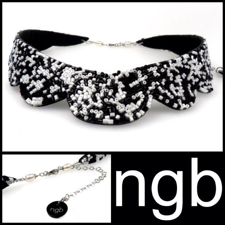 Black & white collar, closing with pearls and italian silver