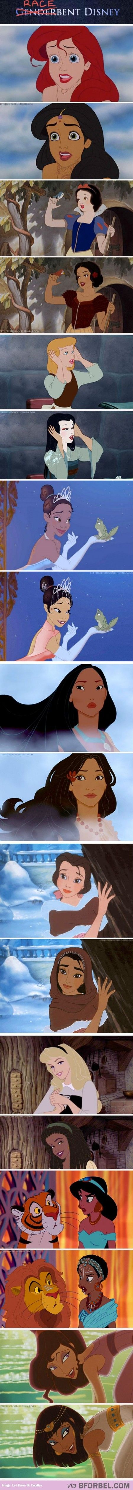 """Racebent"" Disney princesses...I love these! I particularly like Ariel, Snow White, and Pocahontas!"