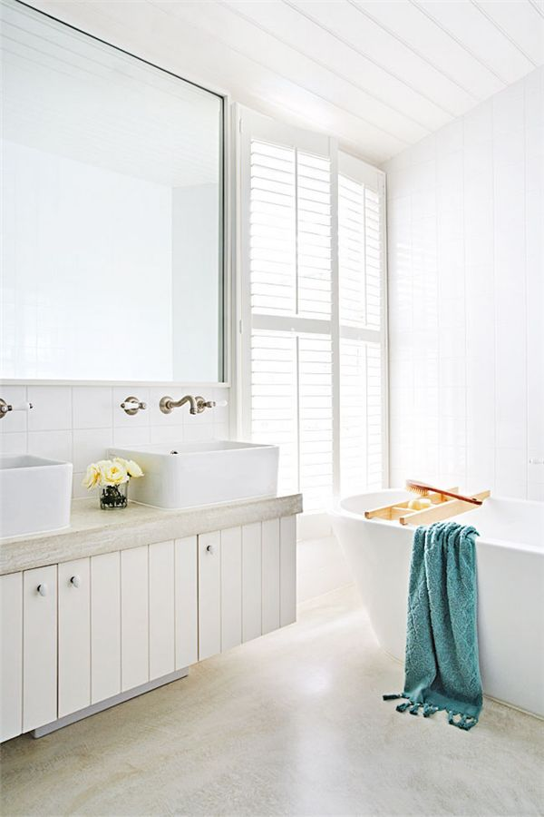 White panelling in bathroom
