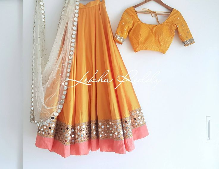 Always dress like it s the best day of life. Beautiful mustered color lehenga and blouse with hand embroidery mirror work on boarder. Dress Code : LR-LG53. Email:lekhareddydesigns@gmail.com Phone Whatsapp: +91 8790797505 05 September 2017
