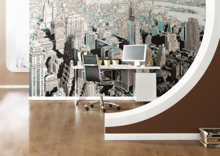 gotham batman city design decoration wallpaper photomural interior interieur komar. Black Bedroom Furniture Sets. Home Design Ideas