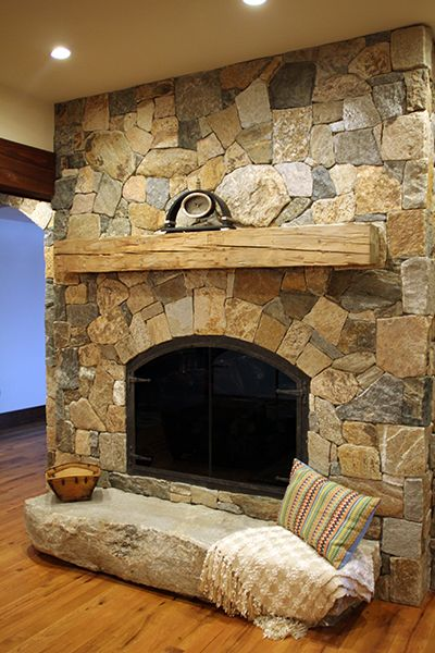 Fireplace Project with Thin Natural Stone Veneer Fireplace Stone Facing  Boston Blend Mosaic and Square &